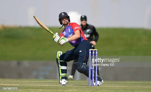 Jos Buttler of England bats during the England and New Zealand warm Up Match prior to the ICC Men's T20 World Cup at on October 20, 2021 in Abu...