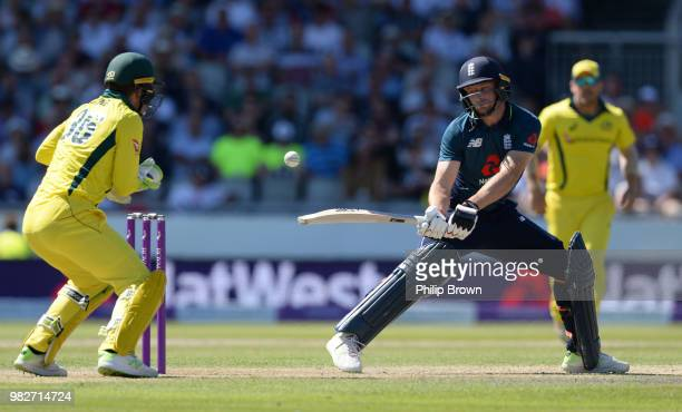 Jos Buttler of England bats during the fifth Royal London OneDay International match between England and Australia at Emirates Old Trafford cricket...