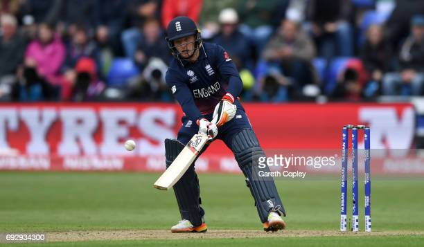 Jos Buttler of England bats during the ICC Champions Trophy match between England v New Zealand at SWALEC Stadium on June 6 2017 in Cardiff Wales