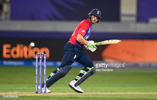 Jos Buttler of England bats during the ICC Men's T20 World Cup match between England and Windies at Dubai International Stadium on October 23, 2021...