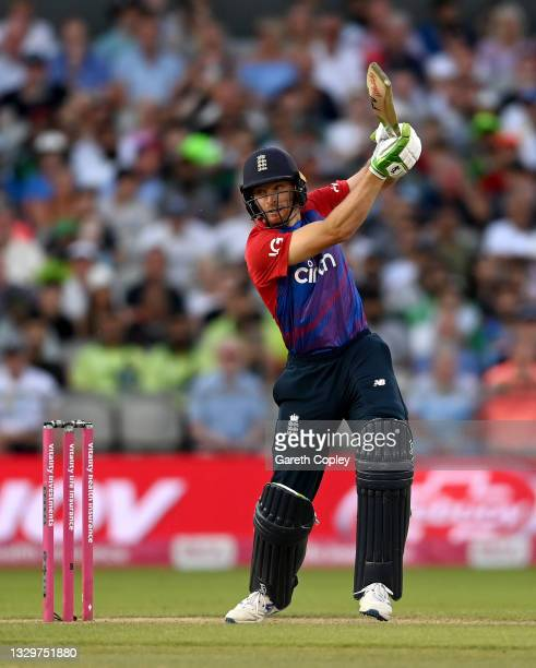 Jos Buttler of England bats during the Third Vitality International T20 match between England and Pakistan at Emirates Old Trafford on July 20, 2021...