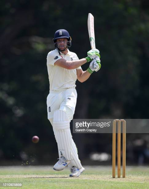 Jos Buttler of England bats during the tour match between SLC Board President's XI and England at Chilaw Marians Cricket Club Ground on March 07,...