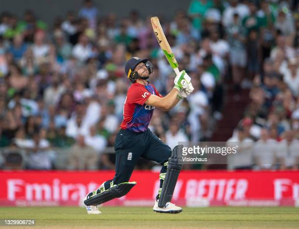 Jos Buttler of England batting during the 3rd T20I between England and Pakistan at Emirates Old Trafford on July 20, 2021 in Manchester, England.