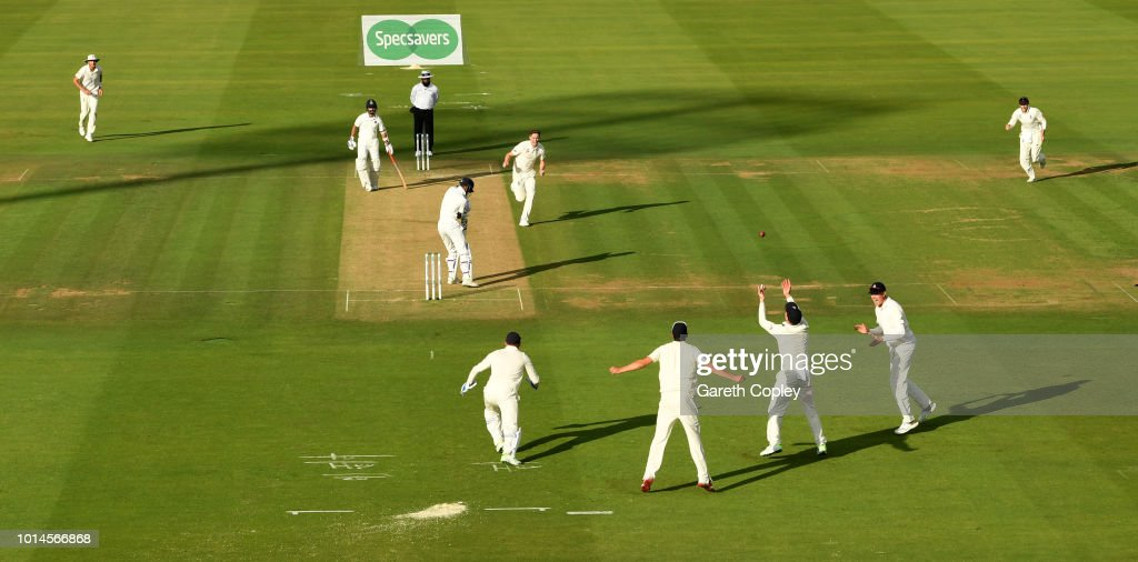 Jos Buttler of England catches out Hardik Pandya of India from the bowling of Chris Woakes during day two of the 2nd Specsavers Test between England and India at Lord's Cricket Ground on August 10, 2018 in London, England.