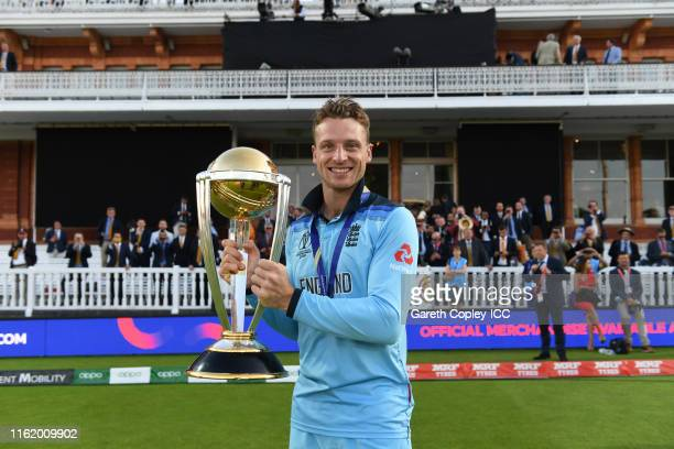 Jos Buttler of England celebrate after winning the Cricket World Cup during the Final of the ICC Cricket World Cup 2019 between New Zealand and...