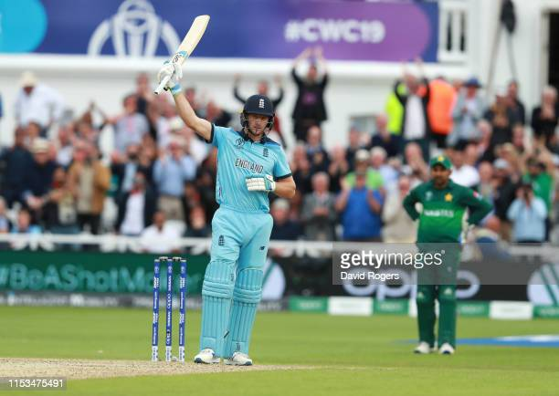 Jos Buttler of England celebrates after scoring a century during the Group Stage match of the ICC Cricket World Cup 2019 between England and Pakistan...