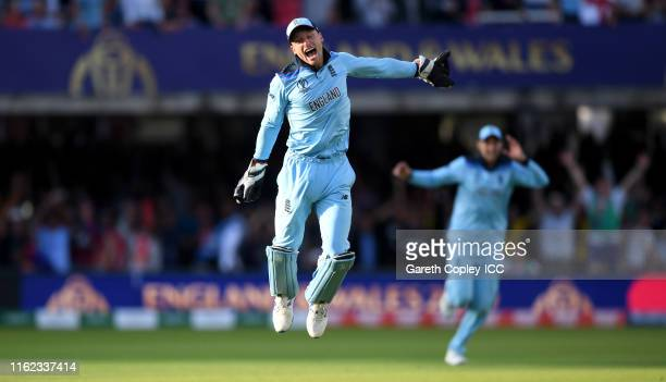 Jos Buttler of England celebrates after winning the Cricket World Cup during the Final of the ICC Cricket World Cup 2019 between New Zealand and...