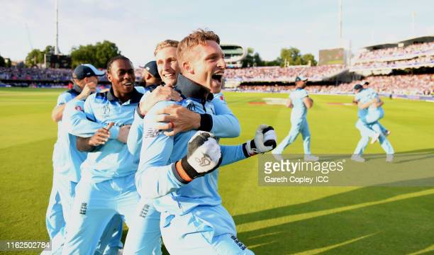 Jos Buttler of England celebrates after winning the Final of the ICC Cricket World Cup 2019 between New Zealand and England at Lord's Cricket Ground...