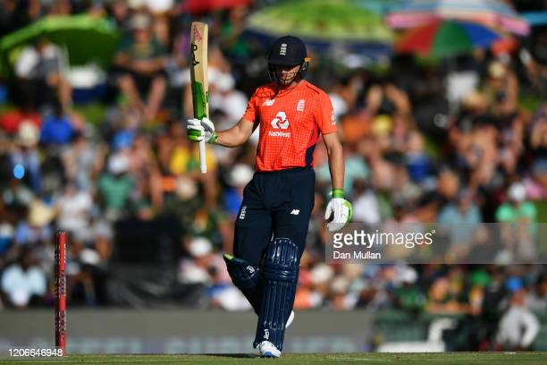 Jos Buttler of England celebrates his 50 during the Third T20 International match between South Africa and England at Supersport Park on February 16,...