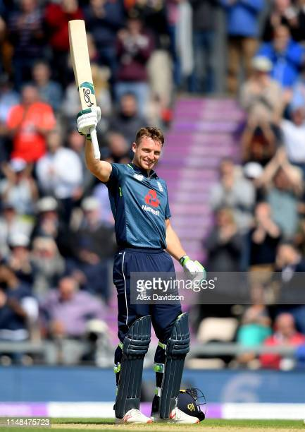 Jos Buttler of England celebrates his century during the second One Day International between England and Pakistan at The Ageas Bowl on May 11 2019...
