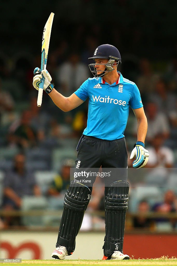 Jos Buttler of England celebrates his half century during the One Day International match between England and India at WACA on January 30, 2015 in Perth, Australia.