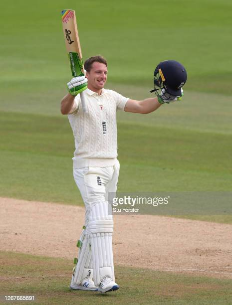 Jos Buttler of England celebrates reaching his century during Day Two of the 3rd #RaiseTheBat Test Match between England and Pakistan at the Ageas...