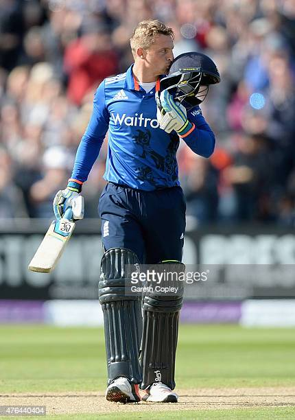 Jos Buttler of England celebrates reaching his century during the 1st ODI Royal London OneDay match between England and New Zealand at Edgbaston on...