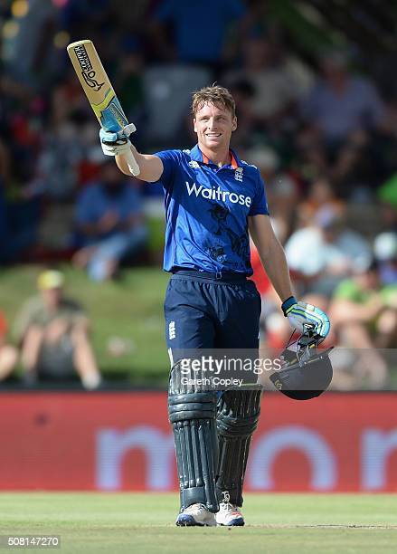 Jos Buttler of England celebrates reaching his century during the 1st Momentum ODI match between South Africa and England at Mangaung Oval on...