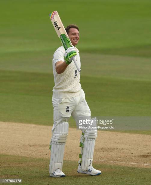 Jos Buttler of England celebrates reaching his century during the second day of the third Test match between England and Pakistan at the Ageas Bowl...