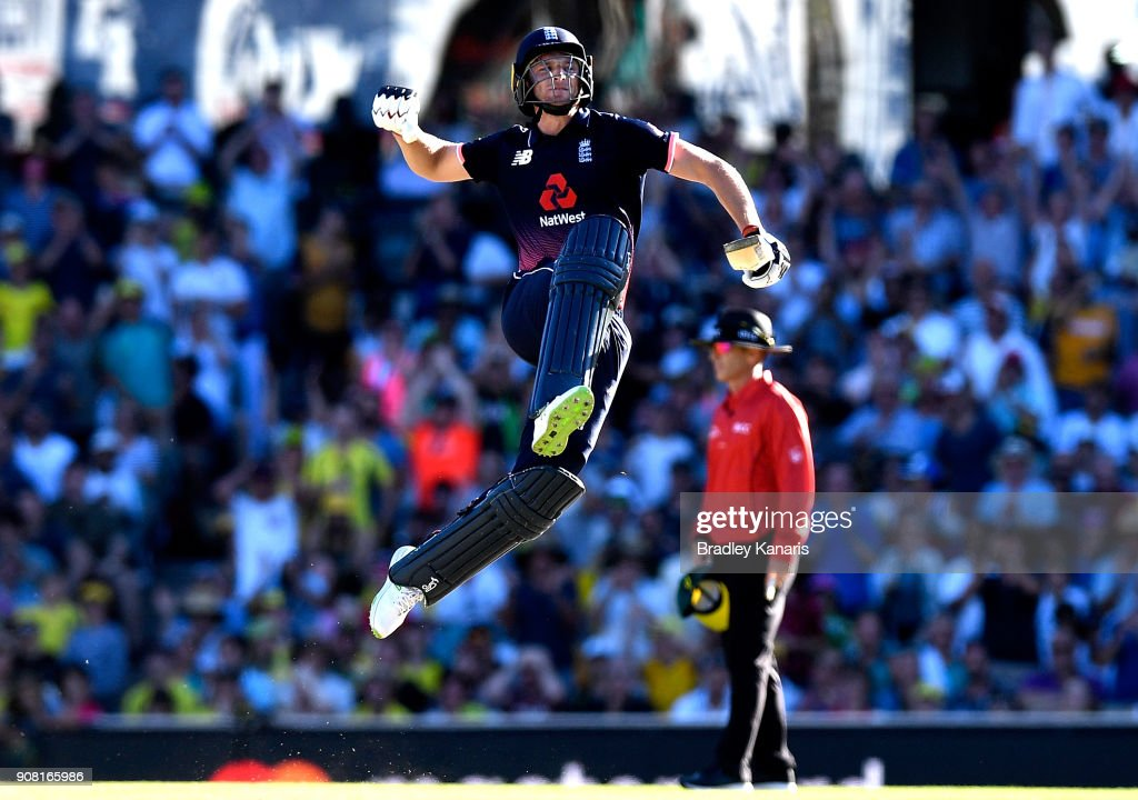 Jos Buttler of England celebrates scoring a century during game three of the One Day International series between Australia and England at Sydney Cricket Ground on January 21, 2018 in Sydney, Australia.