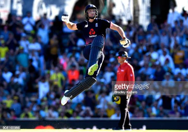 Jos Buttler of England celebrates scoring a century during game three of the One Day International series between Australia and England at Sydney...