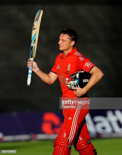 Jos Buttler of England celebrates victory following the 4th One Day International between England and Australia at Sophia Gardens in Cardiff on 14th...