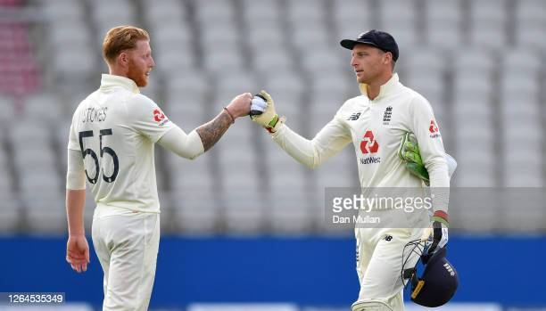 Jos Buttler of England congratulates Ben Stokes after Day Three of the 1st #RaiseTheBat Test Match between England and Pakistan at Emirates Old...