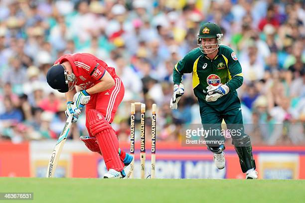 Jos Buttler of England deflects the ball onto his stumps during game three of the One Day International Series between Australia and England at...