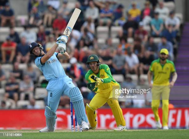 Jos Buttler of England hits a six during the ICC Cricket World Cup 2019 Warm Up match between England and Australia at Ageas Bowl on May 25, 2019 in...