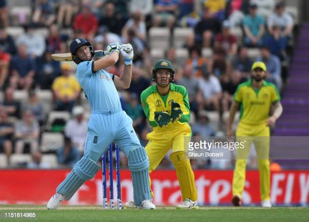 Jos Buttler of England hits a six during the ICC Cricket World Cup 2019 Warm Up match between England and Australia at Ageas Bowl on May 25 2019 in...