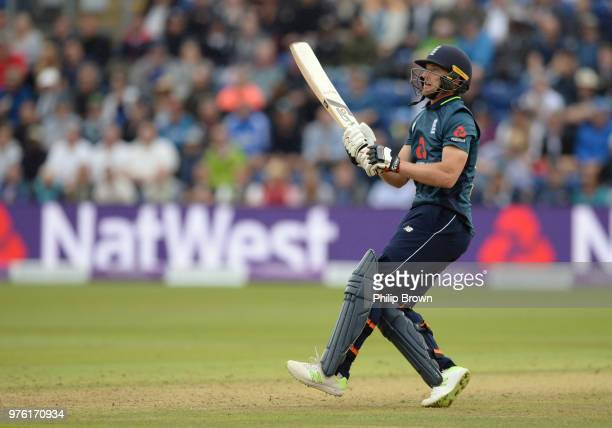 Jos Buttler of England hits a six during the second Royal London OneDay International match between England and Australia at the SWALEC Stadium on...