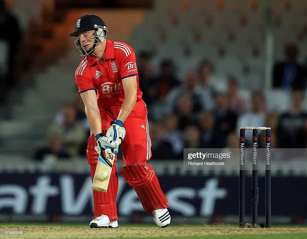 Jos Buttler of England hits a six with the flip of the bat during the 1st Natwest International T20 match between England and New Zealand at The Kia Oval on June 25, 2013 in London, England.