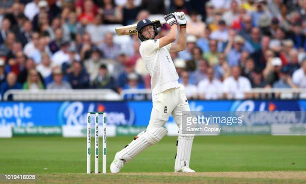 Jos Buttler of England hits out for six runs during day two of the Specsavers 3rd Test match between England and India at Trent Bridge on August 19...