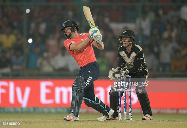 Jos Buttler of England hits out for six runs during the ICC World Twenty20 India 2016 Semi Final match between England and New Zealand at Feroz Shah...
