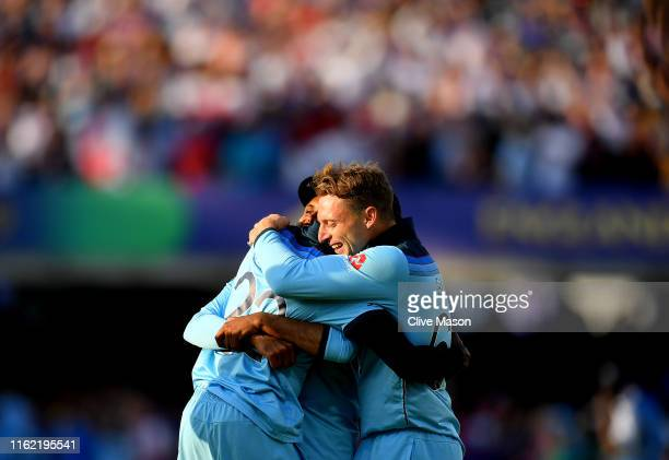 Jos Buttler of England hugs Jofra Archer of England after the Final of the ICC Cricket World Cup 2019 between New Zealand and England at Lord's...