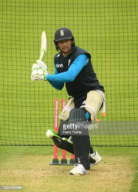 Jos Buttler of England in batting action during an England Nets Session at Sophia Gardens on June 21, 2021 in Cardiff, Wales.