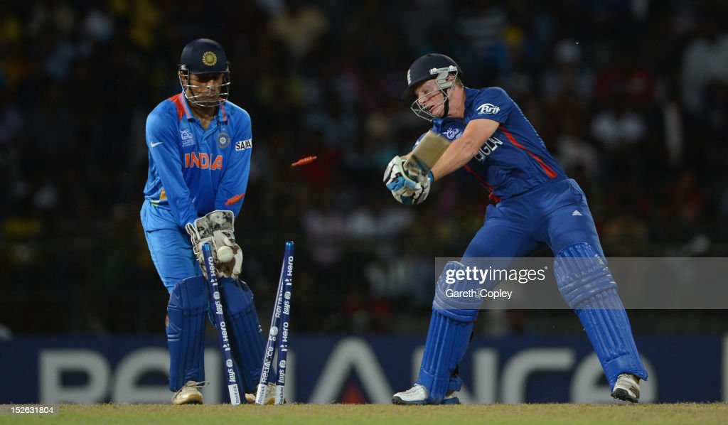 Jos Buttler of England is bowled Harbhajan Singh of India during the ICC World Twenty20 2012 Group A match between England and India at R. Premadasa Stadium on September 23, 2012 in Colombo, Sri Lanka.
