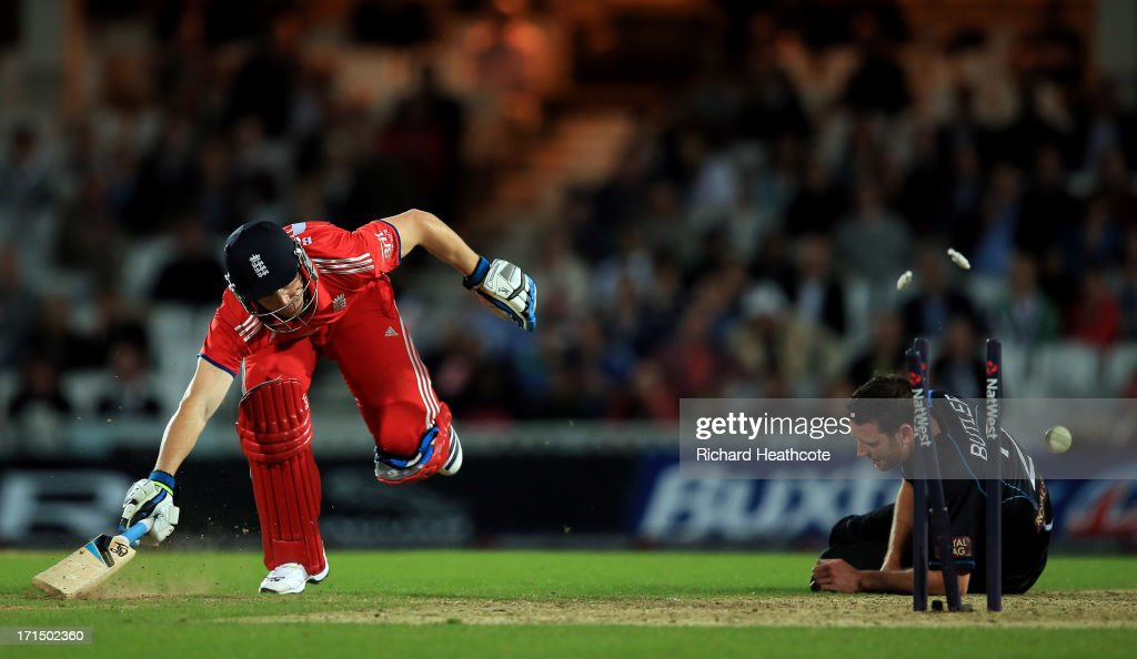 Jos Buttler of England is run out during the 1st Natwest International T20 match between England and New Zealand at The Kia Oval on June 25, 2013 in London, England.