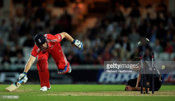 Jos Buttler of England is run out during the 1st Natwest International T20 match between England and New Zealand at The Kia Oval on June 25, 2013 in...