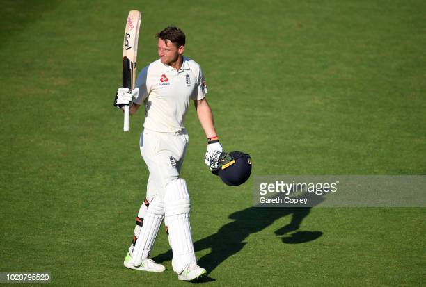 Jos Buttler of England leaves the field after being dismissed by Jasprit Bumrah of India during day four of the Specsavers 3rd Test match between...