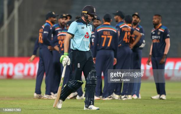 Jos Buttler of England leaves the field after being dismissed by Shardul Thakur of India during 1st One Day International between India and England...
