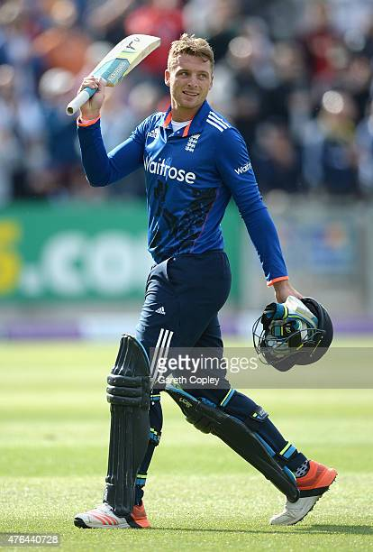 Jos Buttler of England leaves the field after being dismissed for 129 runs during the 1st ODI Royal London OneDay match between England and New...