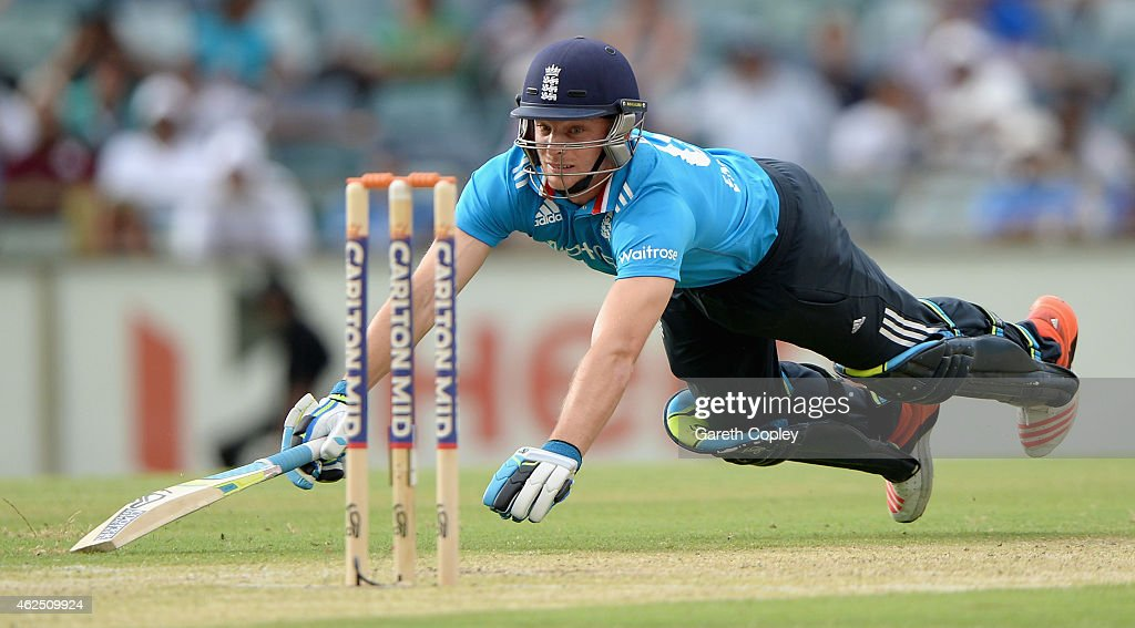 Jos Buttler of England makes his ground during the One Day International match between England and India at WACA on January 30, 2015 in Perth, Australia.