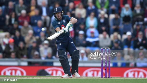 Jos Buttler of England plays a ramp shot during the Second One Day International between England and Pakistan at The Ageas Bowl on May 11, 2019 in...