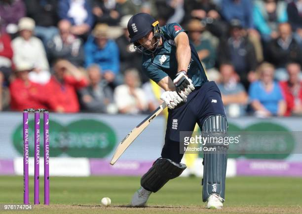 Jos Buttler of England plays a shot during the 2nd Royal London One day International match between England and Australia at Sophia Gardens Cricket...