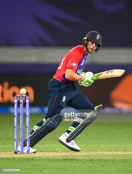 Jos Buttler of England plays a shot during the ICC Men's T20 World Cup match between England and Windies at Dubai International Stadium on October...