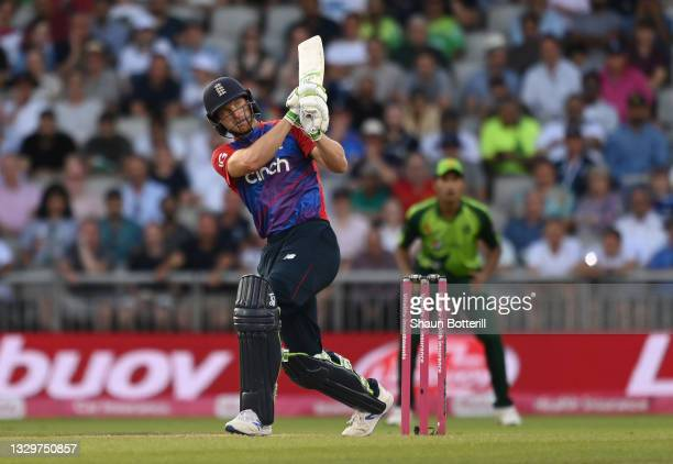 Jos Buttler of England plays a shot during the third Vitality International T20 match between England and Pakistan at Emirates Old Trafford on July...
