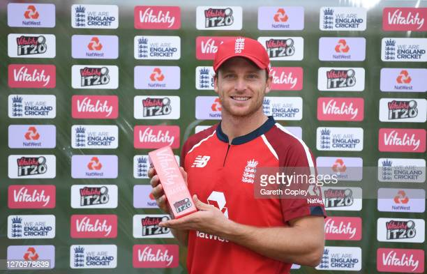 Jos Buttler of England poses after being named man of the match during the 2nd Vitality International Twenty20 match between England and Australia at...