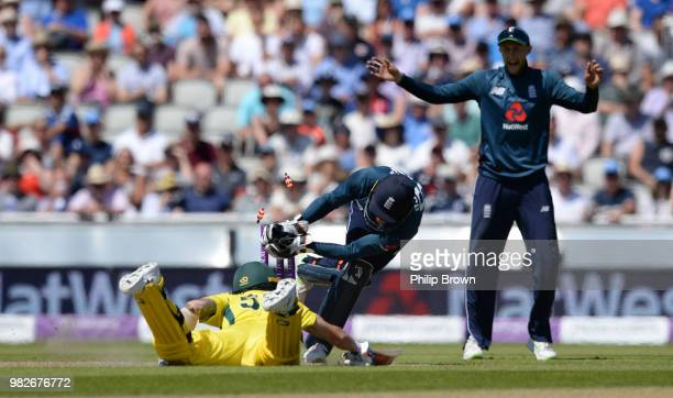 Jos Buttler of England runs out Kane Richardson of Australia during the fifth Royal London OneDay International match between England and Australia...