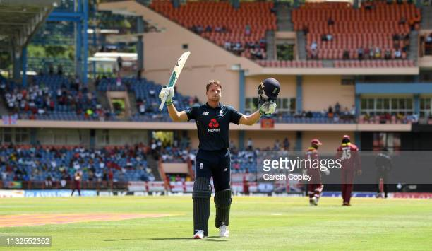 Jos Buttler of England salutes the crowd as he leaves the field during the 4th One Day International match between the West Indies and England at...
