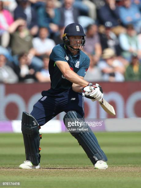 Jos Buttler of England scores runs during the 2nd Royal London ODI match between England and Australia at SWALEC Stadium on June 16 2018 in Cardiff...