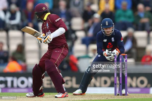 Jos Buttler of England stumps Marlon Samuels of West Indies off the bowling of Moeen Ali during the 5th Royal London One Day International match...