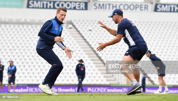 Jos Buttler of England takes part in a fielding drill during a nets session at Trent Bridge on June 18 2018 in Nottingham England