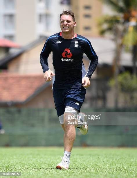 Jos Buttler of England takes part in a fitness drill during a nets session at P Sara Oval on October 3 2018 in Colombo